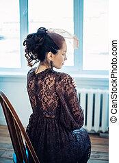 retro, porträt, von, a, schöne , woman., weinlese, style., mode, foto