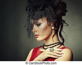retro, portré, közül, egy, gyönyörű, woman., szüret, mód