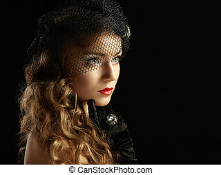 retro, portré, közül, gyönyörű, woman., szüret, mód