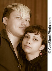 Retro portrait of a young couple
