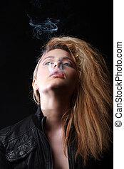 Retro Portrait Of Beautiful Woman With Cigarette
