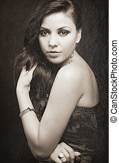Retro portrait of elegant sensual woman