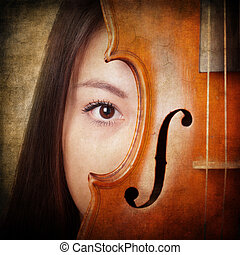 retro portrait with violin