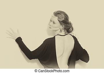 retro, portret, od, kobieta
