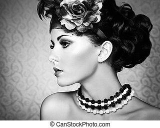 retro, portret, od, niejaki, piękny, woman., rocznik wina, styl
