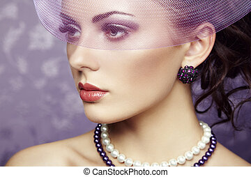 retro, portret, od, piękny, woman., rocznik wina, styl