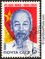 retro postage stamp hundred thirteen - Ho Chi Minh was a...