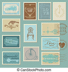 Retro Postage Stamps - for wedding design, invitation, congratulation, scrapbook
