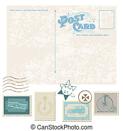 Retro Postcard and Postage Stamps - for wedding design, ...