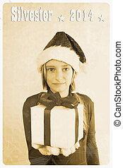 Retro postcard - girl in santa claus hat giving gift