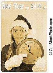 Retro postcard - girl in santa claus hat with clock