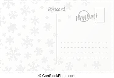 Retro postcard template for New Year and Christmas greetings. Postal card with snowflakes design.