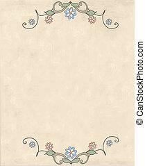 Retro card. Template for postcards, invitations. Vintage design elements.