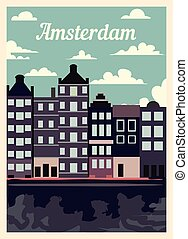 Retro poster Amsterdam city skyline vintage, vector illustration.