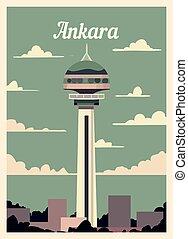 Retro poster Ankara city skyline vintage vector illustration.