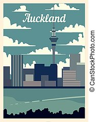 Retro poster Auckland city skyline. vintage vector illustration.