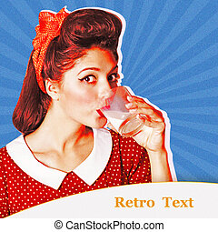 Retro poster background. Young woman drinking glass of milk