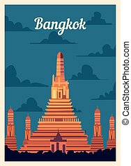 Retro poster Bangkok city skyline. vintage vector illustration.