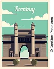Retro poster Bombay city skyline vintage, vector illustration.