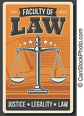 Retro poster, juridical justice school law faculty - Law ...