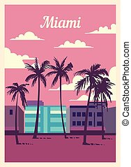 Retro poster Miami city skyline. Miami vintage