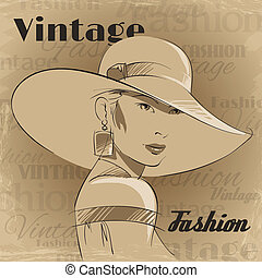 Retro poster of fashion young woman