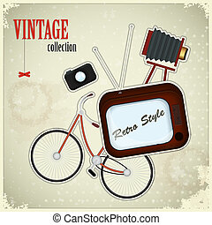 Retro poster - vintage stuff on grunge background
