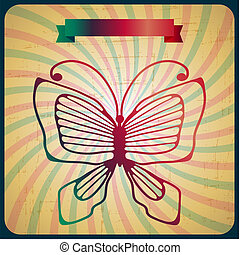 Retro poster with butterfly on old scrach background.
