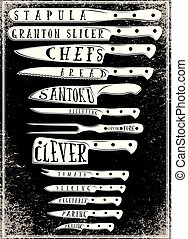 retro poster with with different types of kitchen knives.