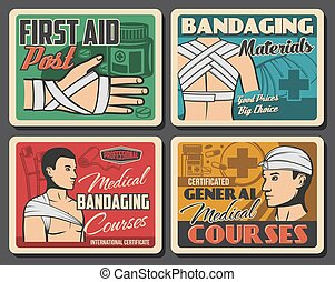 Retro posters, medical first aid and bandaging - Trauma ...