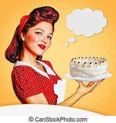 Retro poster.Young housewife holding big sweet cake in her...