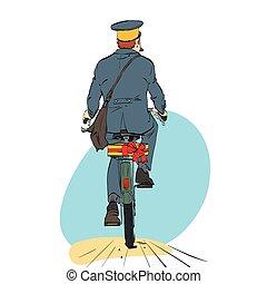 Retro postman on bike rides with sending gift