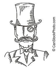 retro, pretas, illustratio, retrato, homem, vetorial, gráfico, topo, hat.