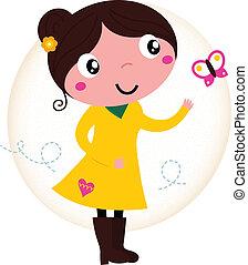 retro, primavera, lindo, niña, en, vestido amarillo, con, mariposa
