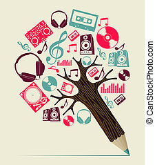 Dj music concept pencil tree - Retro professional Dj music...
