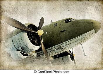 retro, propeller, airplain