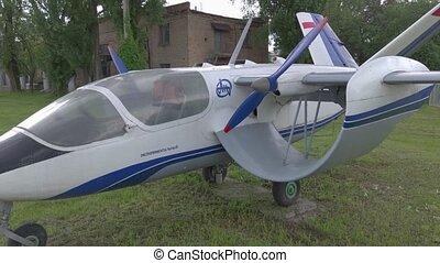 Retro propeller plane experimental aircraft Izdeliye 181 slow motion