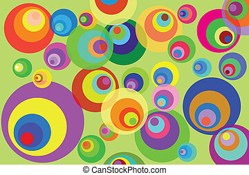 Disco Circles Background - Retro Psychedelic Disco Circles...