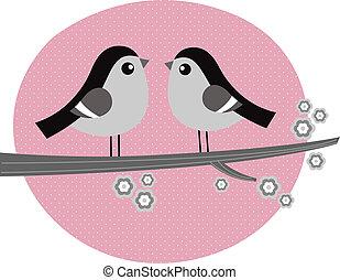 retro, ptaszki, para, zakochany, na, różowe tło