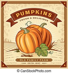 Retro pumpkin harvest label with landscape