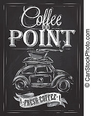 retro, punto, tiza, cartel, café