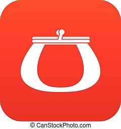 Retro purse icon digital red