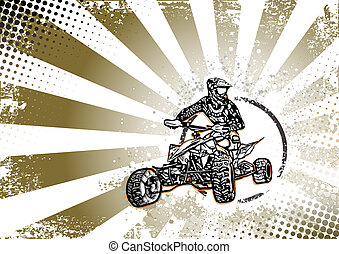 retro quad bike poster background - quad bike vector...