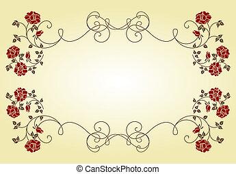 retro, quadro, com, roses.