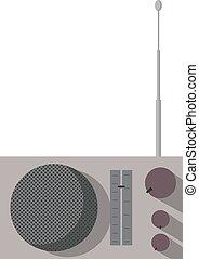 retro, rádio, branca, experiência., vetorial, ilustração