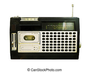 retro, rádio, (tape, recorder)