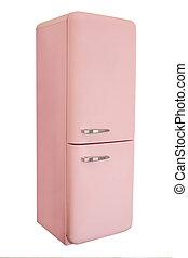retro, różowy, chłodnia