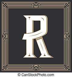 retro, r, occidental, lettre, style., design.