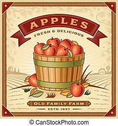 retro, raccogliere, mela, paesaggio, etichetta