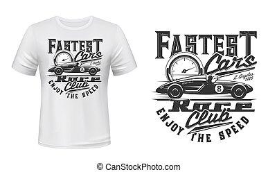 Retro racing car t-shirt vector print mockup